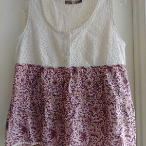 Prana Lace and Floral Tank Top